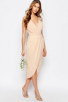 High-Low Beaded Sleeveless V-Neck Chiffon Bridesmaid Dress