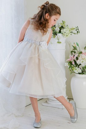 Embroideried Tea-Length Tiered Lace&Organza Flower Girl Dress