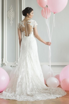 V-Neck Cap-Sleeve Lace Wedding Dress
