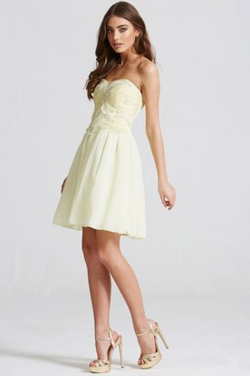 Short Sweetheart Sleeveless Beaded Chiffon Bridesmaid Dress