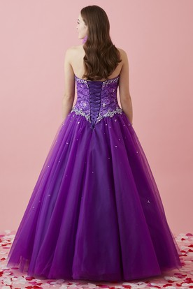 Ball Gown Long Sweetheart Sleeveless Tulle Lace-Up Dress With Lace And Beading