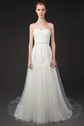 A-Line Jeweled Sweetheart Tulle Wedding Dress With Criss Cross And Appliques