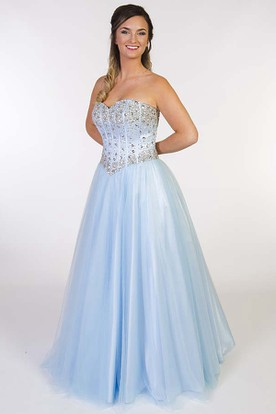 A-Line Sleeveless Maxi Beaded Sweetheart Tulle Prom Dress