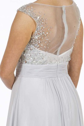A-Line Beaded Scoop-Neck Floor-Length Sleeveless Chiffon Prom Dress