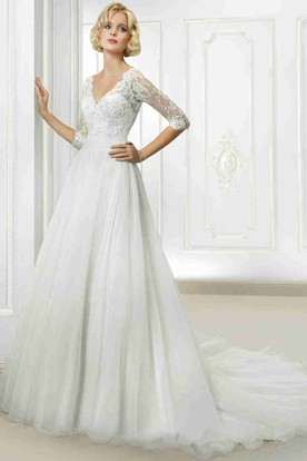 V-Neck Long Lace Half Sleeve Tulle Wedding Dress With Court Train And V Back