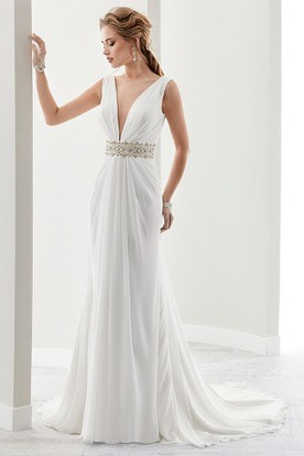Deep-V Chiffon Draping Bridal Gown With Pleated Details And Open Back