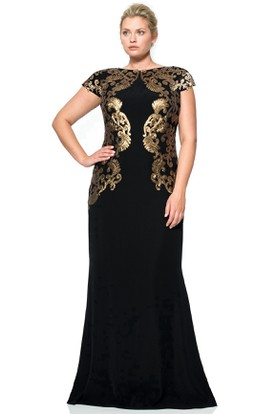Jewel Neck T-Shirt Sleeve Appliqued Chiffon Evening Dress With Low-V Back