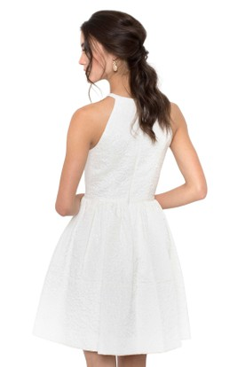 A-Line Jewel Sleeveless Maxi Little White Dress With Zipper Back