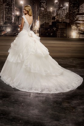 V-neck Floral Cap sleeve Wedding Gown with Lace Corset and Asymmetrical Ruffles and Lace-up Back