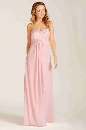Criss-Cross Sweetheart Sleeveless Chiffon Bridesmaid Dress