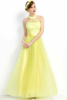A-Line Long High-Neck Sleeveless Tulle Prom Dress