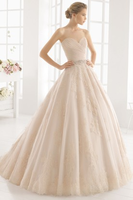 Ball Gown Jeweled Long Sweetheart Tulle Wedding Dress With Criss Cross And Appliques