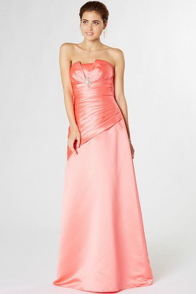 Strapless Ruched Satin Bridesmaid Dress With Cascading Ruffles