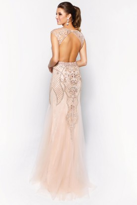 Trumpet V-Neck Cap-Sleeve Lace Tulle Backless Dress With Beading