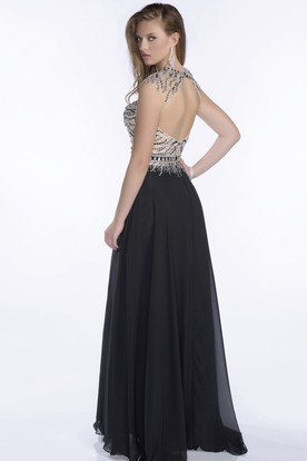 A-Line Chiffon Keyhole Back Prom Dress With Beaded Bodice And Pleats