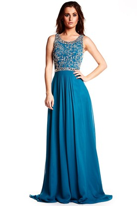 A-Line Sleeveless Beaded Scoop Long Chiffon Prom Dress With Zipper Back And Brush Train