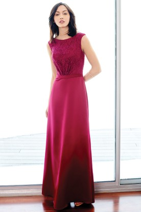 Ankle-Length Scoop Neck Cap Sleeve Lace Jersey Bridesmaid Dress