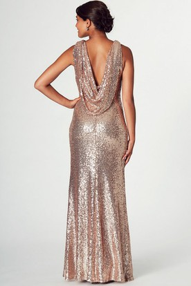 High Neck Split-Front Sleeveless Sequin Prom Dress With Low-V Back
