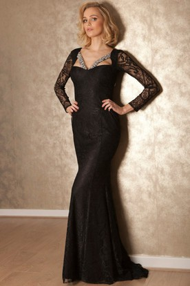 Sheath Maxi Long-Sleeve Beaded Lace Prom Dress