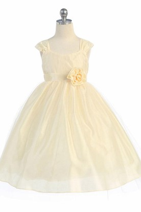 Tea-Length Straps Tiered Empire Tulle Flower Girl Dress