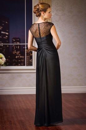Cap-Sleeved V-Neck Mother Of The Bride Dress With Sequins And Illusion Back