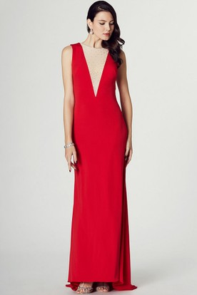 Sleeveless Beaded Jewel Neck Jersey Prom Dress With Brush Train