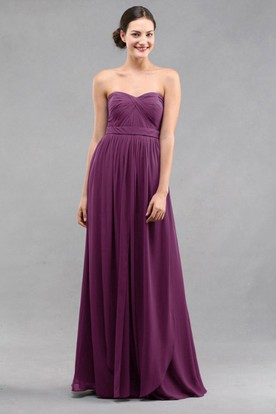 Empire Sweetheart Chiffon Bridesmaid Dress With Criss Cross