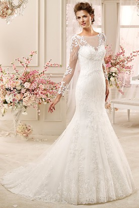 Long-Sleeve Sheath Mermaid Long Wedding Dress With Illusive Design And Brush Train