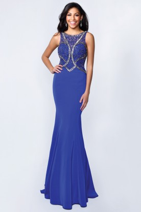 Sheath Long Scoop-Neck Sleeveless Jersey Deep-V Back Dress With Beading