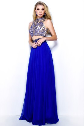 A-Line Long High Neck Sleeveless Chiffon Keyhole Dress With Beading And Pleats