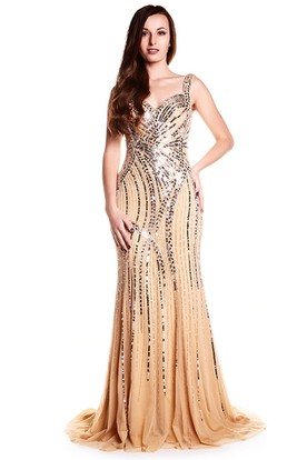 Sheath Sleeveless Beaded Floor-Length Strapped Tulle&Sequins Prom Dress