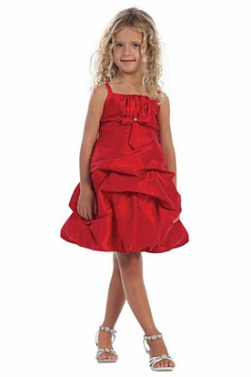 Knee-Length Beaded Ruched Lace&Taffeta Flower Girl Dress With Tiers