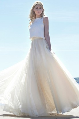 High Neck Maxi Tulle Wedding Dress With V Back