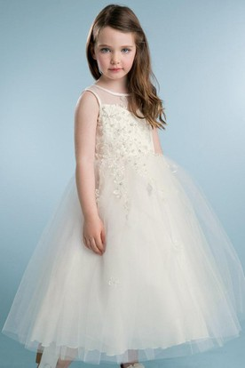 Tea-Length Tiered Beaded Tulle&Satin Flower Girl Dress