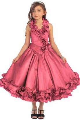 Tea-Length Ruffled Tiered Lace Flower Girl Dress