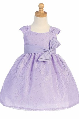 Tea-Length Ruched Tiered Tulle&Lace Flower Girl Dress