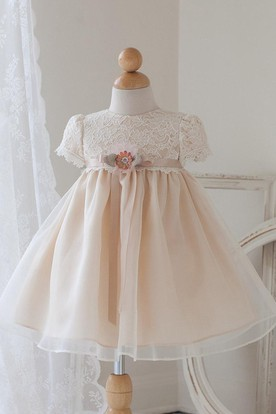 Tea-Length Floral Bowed Lace&Organza Flower Girl Dress With Ribbon