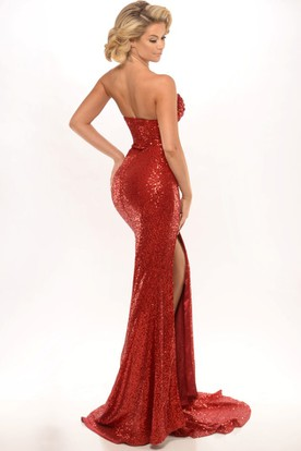 Sheath Sweetheart Sleeveless Split-Front Maxi Sequins Prom Dress With Backless Style And Pleats