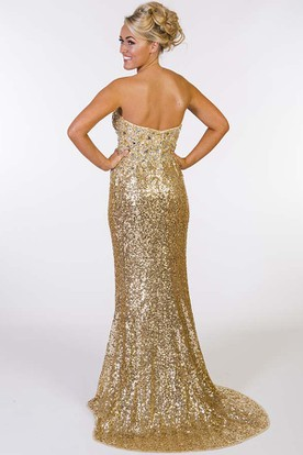Mermaid Beaded Sleeveless Sweetheart Sequin Prom Dress With Brush Train
