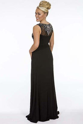 Sheath Sleeveless Beaded Scoop Long Chiffon Prom Dress With Illusion Back And Draping