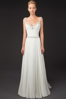 Ruched V-Neck Sleeveless Chiffon Wedding Dress