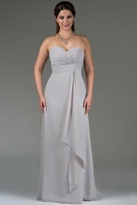 Criss Cross Sweetheart Bodice Chiffon Bridesmaid Dress Floor Length