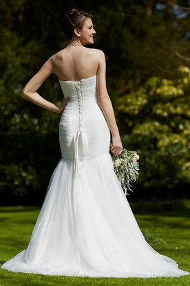 Sweetheart Floor-Length Ruched Tulle Wedding Dress With Brush Train And Lace Up