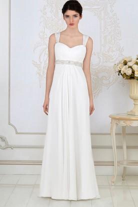 Sheath Long Empire Ruched Sleeveless Strapped Chiffon Wedding Dress With Waist Jewellery