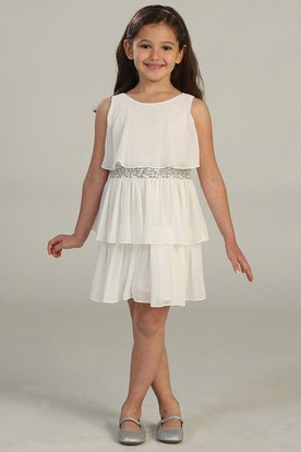 Midi Chiffon&Sequins Flower Girl Dress