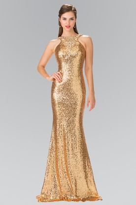 Sheath Floor-Length Jewel-Neck Sleeveless Sequins Dress