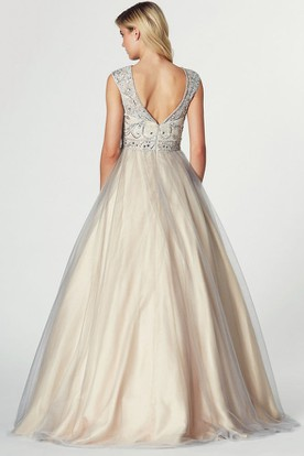 A-Line Floor-Length Sleeveless Beaded Jewel Tulle&Satin Prom Dress With Low-V Back