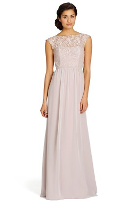 Bateau Long Lace Chiffon Bridesmaid Dress With Keyhole