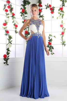 A-Line Scoop-Neck Sleeveless Chiffon Illusion Dress With Pleats And Beading