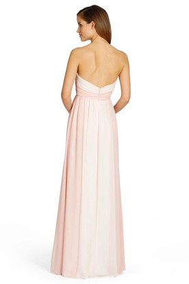 Strapless Floor-Length Ruched Chiffon Bridesmaid Dress With V Back
